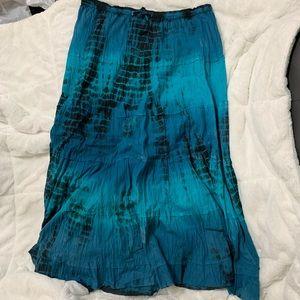 Blue and black boho skirt